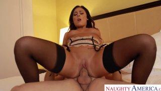 Attractive pornstar babe Gianna Nicole rides cock reverse cowgirl style