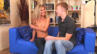Beautiful and skinny blonde Katie gets naked and blows the dick of George