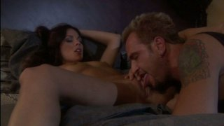 Horny brunette Kirsten Price gives her lover foot job and blowjob
