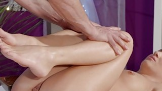 Masseur licks and fucks small tittied blonde
