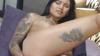 Sexy Tattooed Babe Fucked Her Both Holes